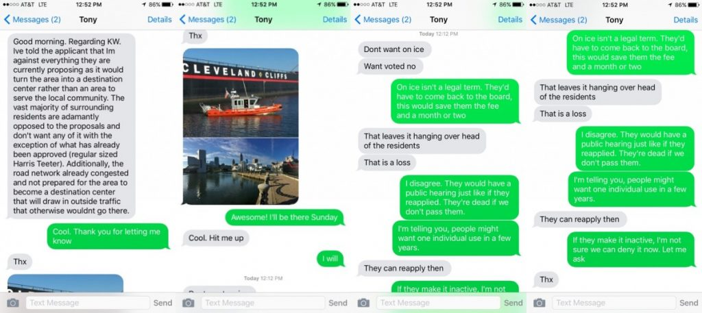 Screenshots of texts between Supervisor Tony R. Buffington (R-Blue Ridge) and Supervisor Ron A. Meyer Jr. (R-Broad Run), provided by Meyer.