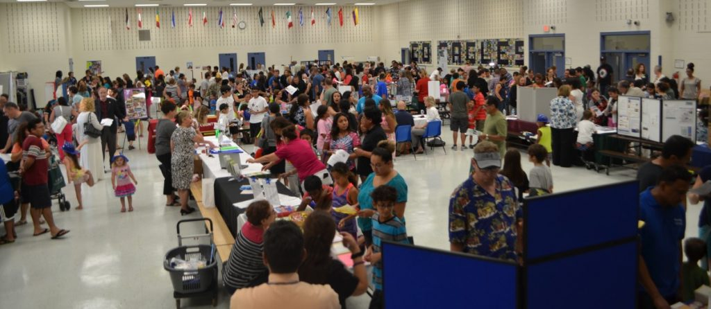 Hundreds packed the gymnasium of Leesburg Elementary School for the inaugural Community Services Night. (Danielle Nadler/Loudoun Now)