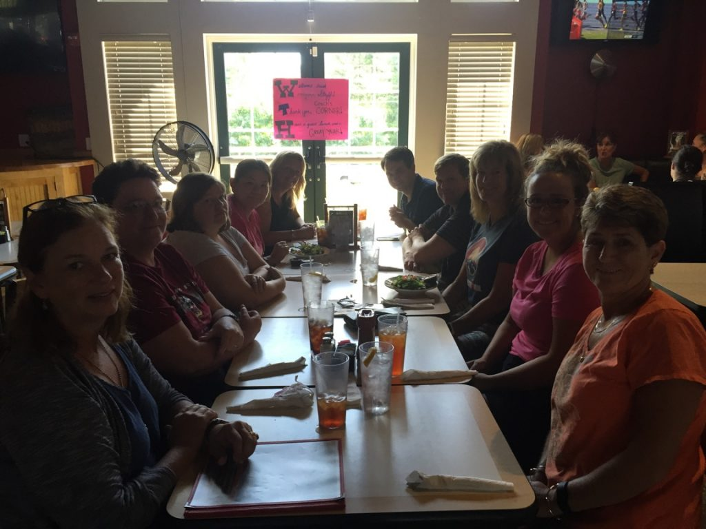 Woodgrove teachers at Coach's Corner. (Courtesy of Geri Fiore)