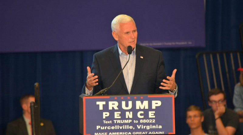 Mike Pence speaks during an Aug. 27 rally at Patrick Henry College.