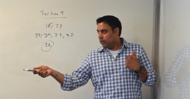 Vinay Bhawnani, co-founder of Loudoun Test Prep, works with students on calculus. (Danielle Nadler/Loudoun Now)