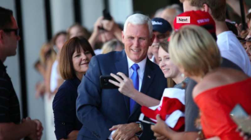 Gov. Mike Pence, shown at a campaign stop in Indiana, will be in Purcellville on Saturday.  [Trump/Pence Campaign photo]