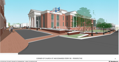 A view of the planned District Court building at the corner of Church Street and Edwards Ferry Road.