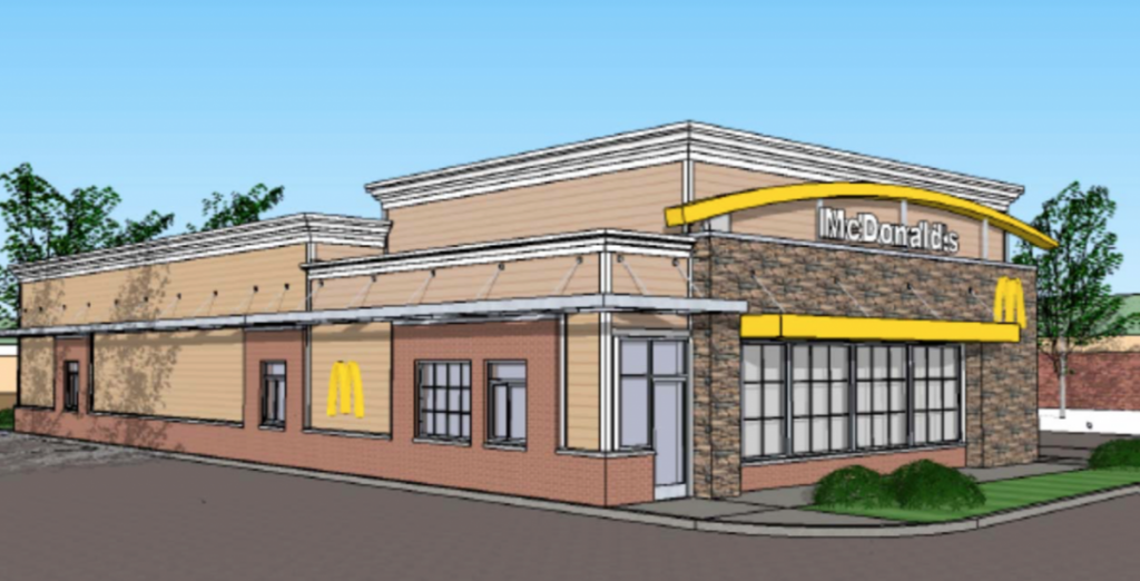A rendering of the larger McDonald's restaurant planned in Purcellville.