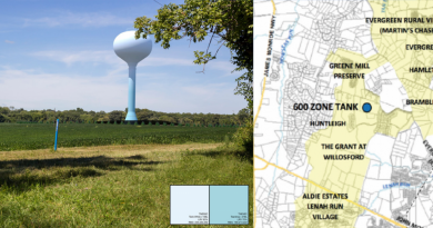 A rendering of the planned 189-foot water tower, prepared by Digital Design & Imaging Service Inc., alongside a map of its location by Loudoun Water.