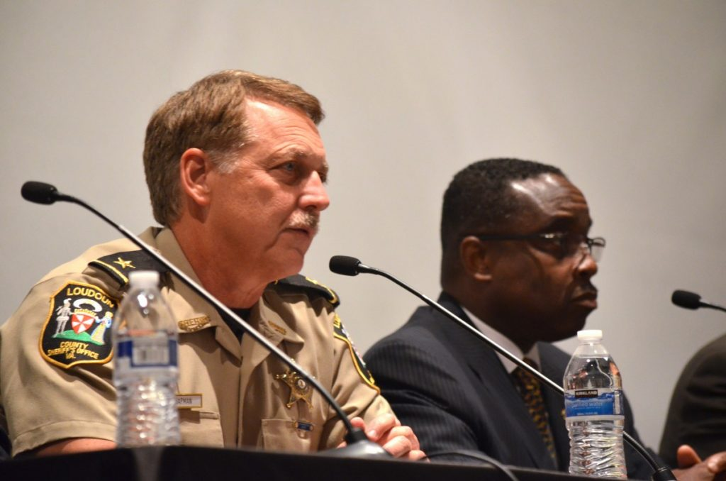 From left, Loudoun Sheriff Michael L. Chapman and Karl C. Colder, Special Agent in Charge of the DEA's Washington Field Division. [Danielle Nadler/Loudoun Now]