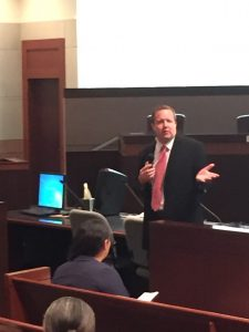 Corey Stewart address the Loudoun County Republican Committee on Sept. 19.
