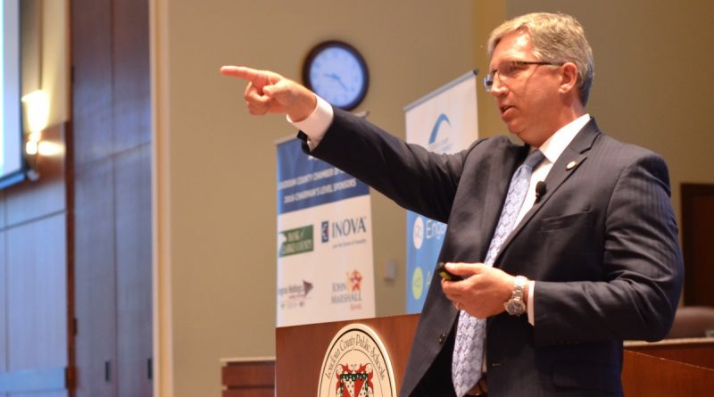 Northern Virginia Community College President Scott Ralls speaks at the Loudoun Chamber's annual State of Innovation in Education event Wednesday, Sept. 13. [Danielle Nadler/Loudoun Now]