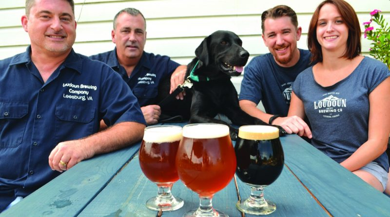 Loudoun Brewing Company team includes, from left, Shawn Fitzpatrick, Phil Fust, Stout Fust, Patrick Steffens and Alanna Steffens. [Danielle Nadler/Loudoun Now]
