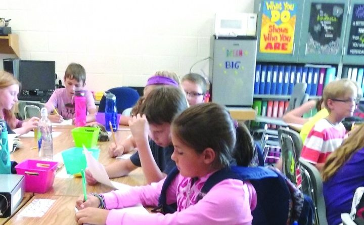 Lovettsville Elementary School have the option of sitting on yoga balls or using bicycle pedals under their desks. [Courtesy of Hugh Brockway]