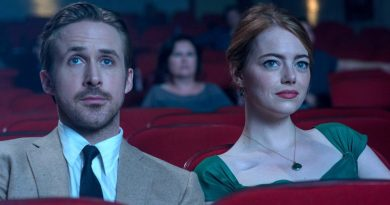 "Ryan Gosling and Emma Stone sit in a movie theater in the film ""La La Land."""