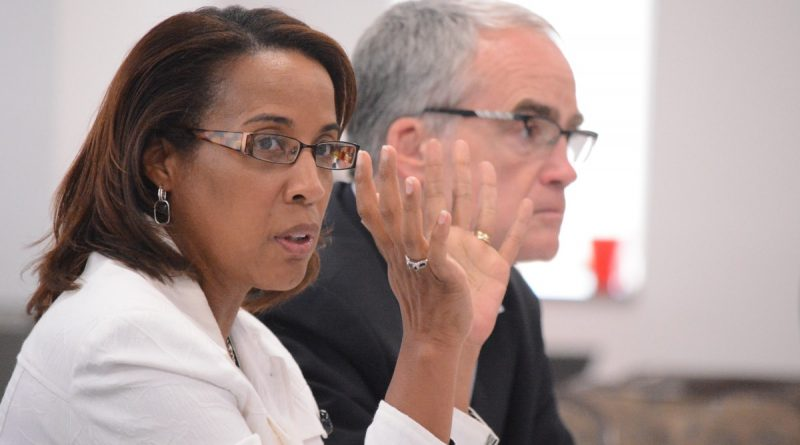 Chairwoman Phyllis J. Randall (D-At Large) and Supervisor Geary M. Higgins (R-Catoctin) at the county board's strategic planning retreat Friday, Sept. 19. (Renss Greene/Loudoun Now)