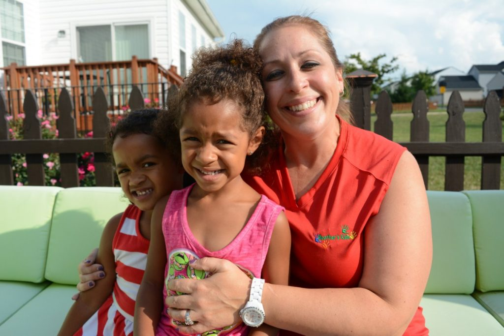Ella, Ryanne, and Heather Whitfield at their home in Lovettsville, where Heather runs a daycare with the help of Diana Greene and Leap Street. (Renss Greene/Loudoun Now)