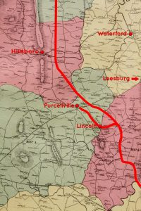 The map shows the planned route of the Lincoln railroad.