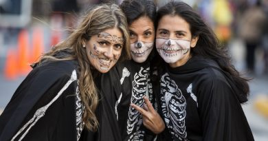 From left, Analia, Rochi and Andrea take part in Village at Leesburg's Monster Mash. [Ali Khaligh/Loudoun Now]