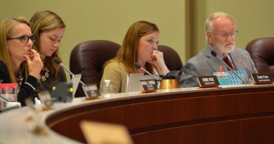 From left, School Board member Debbie Rose (Algonkian), a student, and members Beth Huck (At Large) and Tom Marshall (Leesburg). [Danielle Nadler/Loudoun Now]