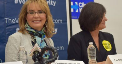 Former Congresswoman Gabby Giffords, of Arizona, survived an assassination attempt in January 2011 and is now a vocal advocate for gun control. She spoke in Sterling with 10th Congressional District candidate LuAnn Bennett, at left, on Thursday. [Danielle Nadler/Loudoun Now]