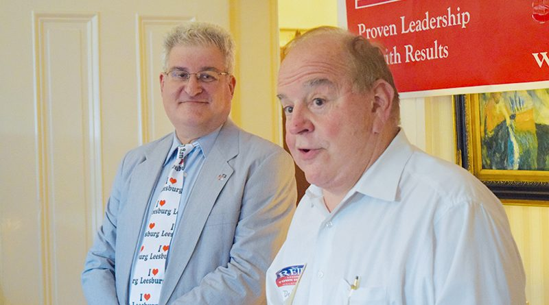 Leesburg businessman David Miles, right, introduces the candidate during Ken Reid's formal campaign kick-off Friday.