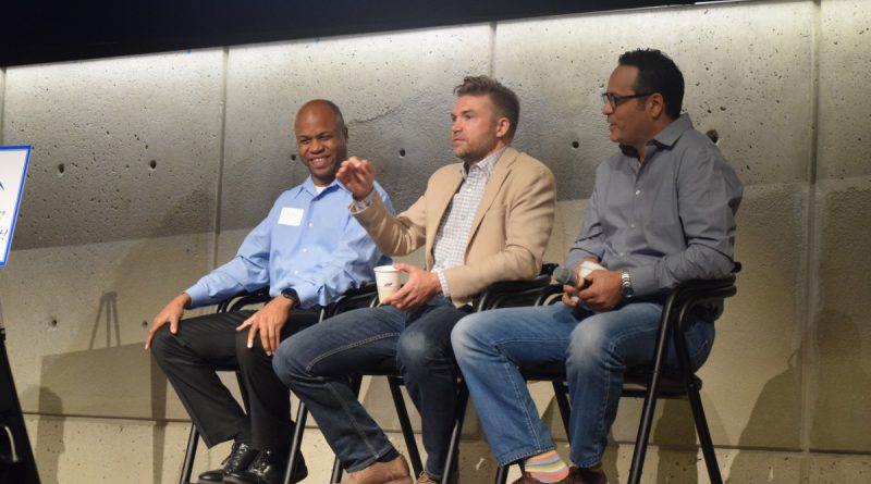 From left, Paul McNeal COO of Lauer Commercial and Tetra Management Services; Loren Hudziak, of Google; and Hassane Bouhia of Verizon discuss the future of the internet during on Oct. 21 Chamber of Commerce Forum at Aol.