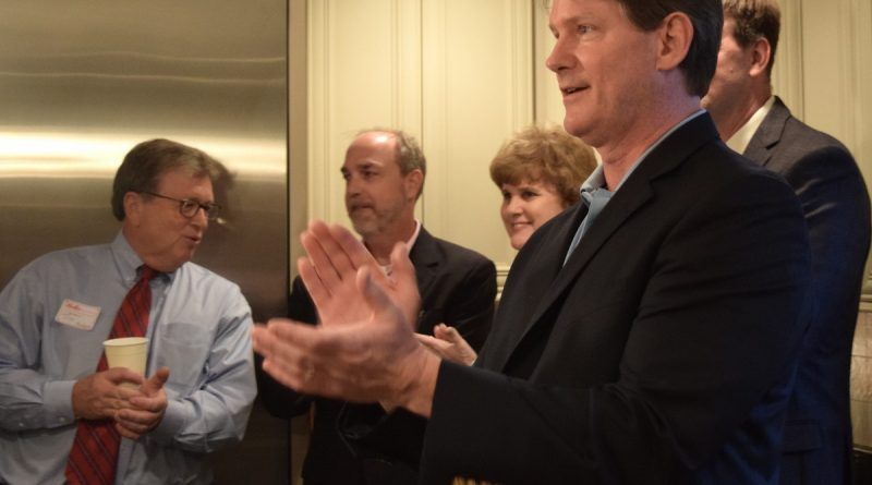 Leesburg Town Council hopeful John Hilton kicked off his campaign Wednesday night, surrounded by friends and supporters.