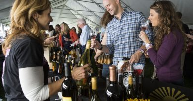 Festival goers line up to taste Sunset Hills Vineyard wines. [Ali Khaligh/Loudoun Now]