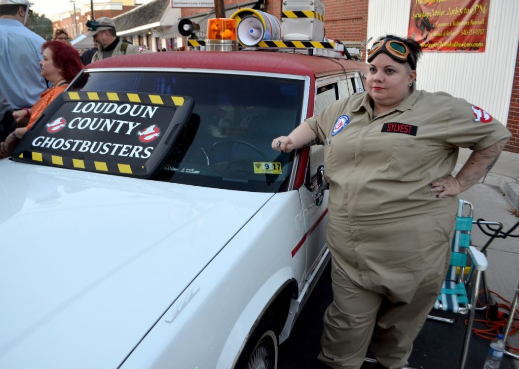 The charity-based Loudoun County Ghostbusters stood their ground at the Purcellville Halloween Block Party. [Danielle Nadler/Loudoun Now]