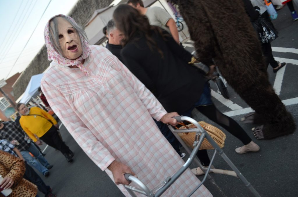 A few brought a level of spook to the Purcellville Halloween Block Party. [Danielle Nadler/Loudoun Now]