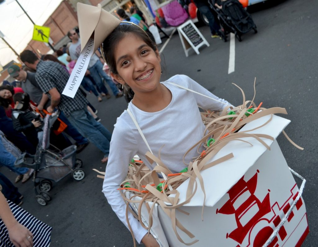 Alex, 12, got a few looks with her costume at the Purcellville Halloween Block Party. [Danielle Nadler/Loudoun Now]