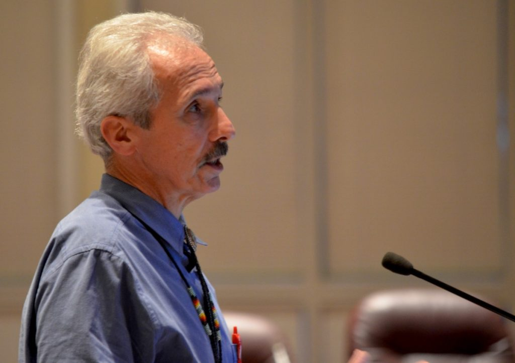 Sam Adamo, executive director of planning for Loudoun County Public Schools, presents attendance options to the School Board Monday. [Danielle Nadler/Loudoun Now]