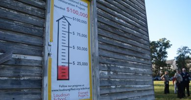 The fundraising chart at the Ashburn Colored School—badly out of date after a surge of giving over the weekend. (Renss Greene/Loudoun Now)