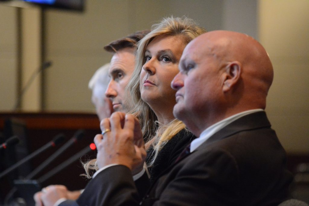 Scott and Michelle LaRose and attorney Frank Stearns at the public hearing Wednesday, October 12. (Renss Greene/Loudoun Now)