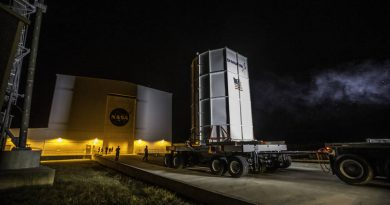 Orbital ATK's Cygnus spacecraft arrived on Oct. 2 at the Horizontal Integration Facility at NASA's Wallops Flight Facility in Virginia for mating with the Antares rocket.  [NASA]