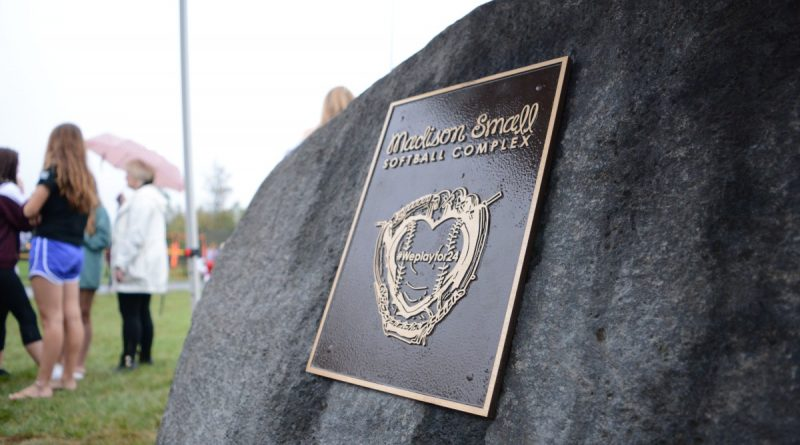 The plaque marking the Madison Small Softball Complex. (Renss Greene/Loudoun Now)