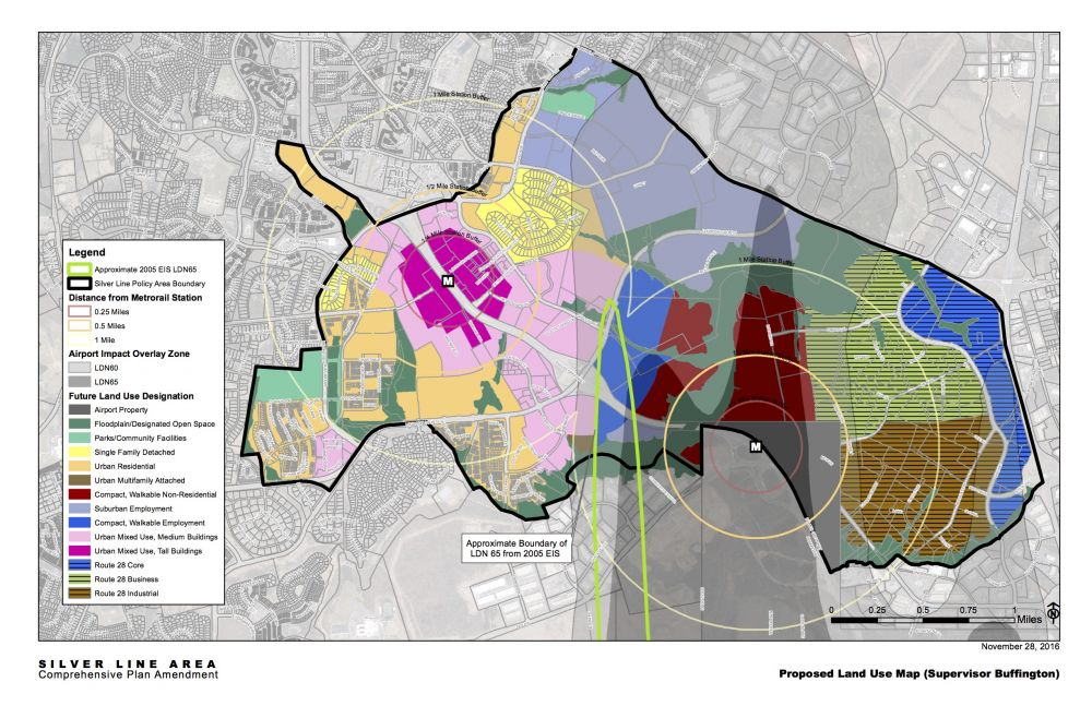Loudoun Supervisors on Tuesday endorsed this land use map to guide development along the Silver Line. The plan envisions a high-density urban center around Ashburn Station on the west and non-residential uses around the Loudoun Gateway Station at the northern edge of Dulles Airport.
