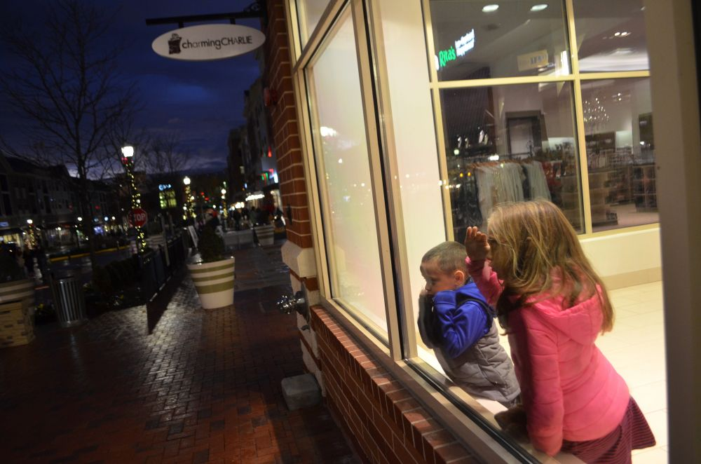 The cold weather had these two watching the tree lighting ceremony from indoors.  [Danielle Nadler/Loudoun Now]