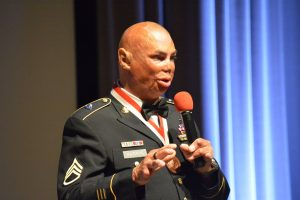Staff Sergeant Shilo Harris delivers the keynote address during the Salute Our Heroes dinner in Lansdowne.