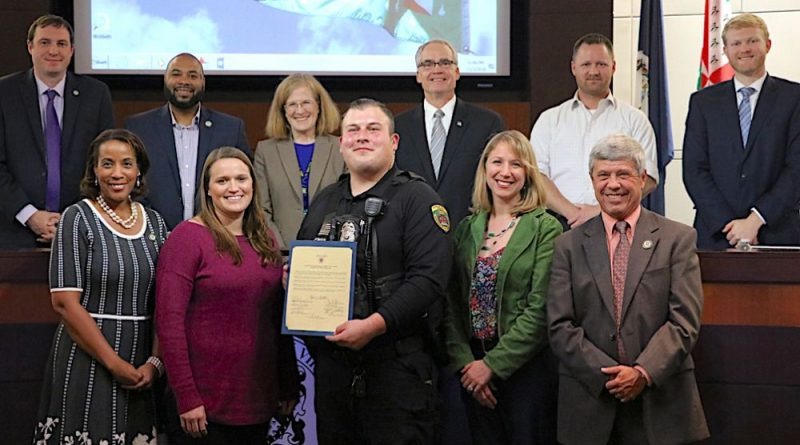 Patrick Breslin is congratulated by the Board of Supervisors after being named Virginia's Animal Control Officer of the year.
