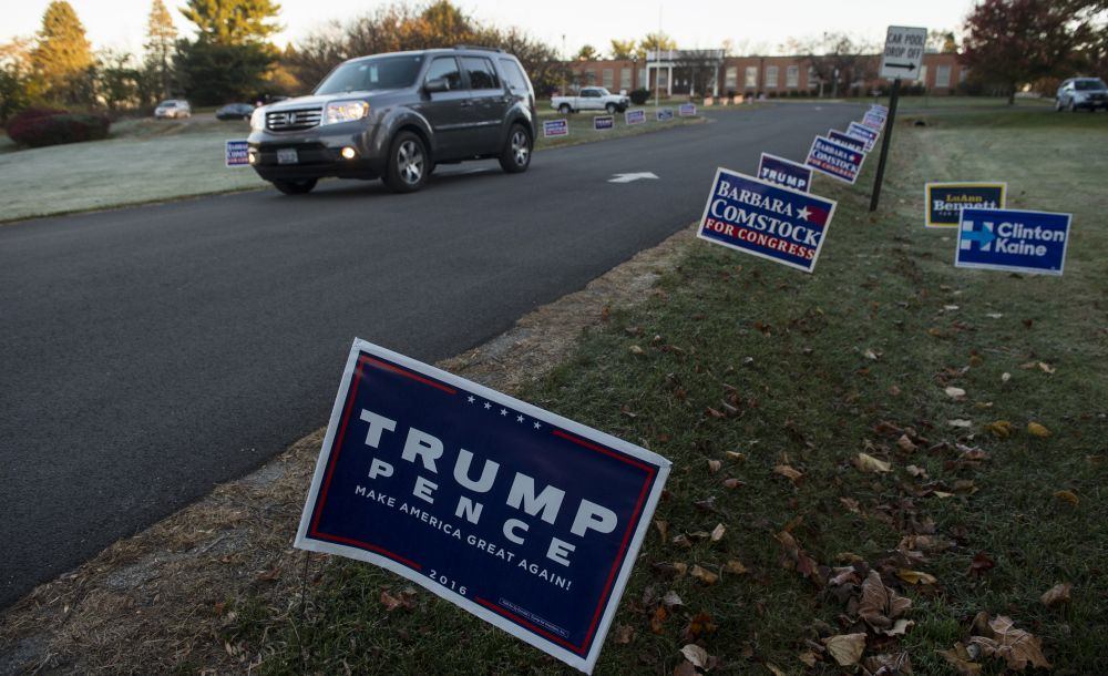 Campaign signs greet voters at Waterford Elementary School. [Douglas Graham/Loudoun Now]