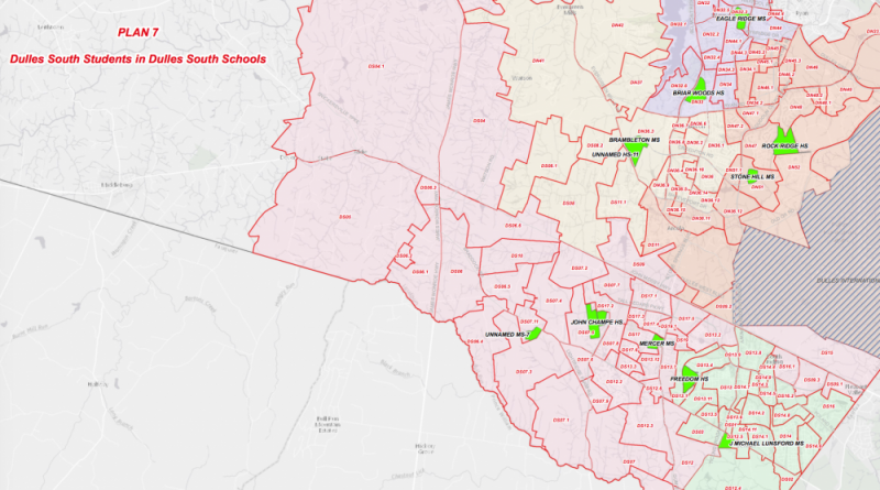 Plan 7 is one of two options still on the table for Dulles area school boundary changes..