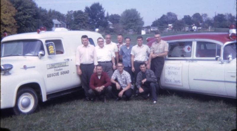 Lovettsville Volunteer Fire & Rescue marked a half-century of service last week. Here, charter members of the organization pose with ambulances.