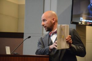 Venable LLP attorney Nicholas DePalma with the letter he sent to the Board of Supervisors. (Renss Greene/Loudoun Now)