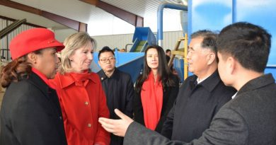 Chairwoman Phyllis J. Randall (D-At Large) and Rep. Barbara Comstock (R-VA-10) speak with Vice Premier Wang Yang, one of the four Vice Premiers of the People's Republic of China, at the hops processing plant at Black Hops Farm. (Visit Loudoun)