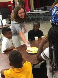 Dorothy McAuliffe at a No Kid Hungry event at the Richmond YMCA. [Governor's Office photo]
