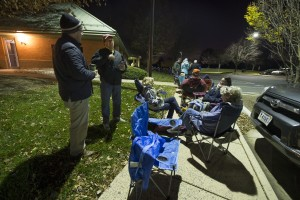 UNITED STATES - November 16, 2015: This was the scene at 3 a.m. in the parking lot of the Ida Lee Recreation Center in Leesburg Virginia as people lined up waiting for tickets to go on sale at 5 a.m. The Jingle Jam evening show has sold out at 5:30 am. (Photo By Douglas Graham/Loudoun Now)