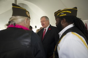UNITED STATES - November 11, 2015 : The George C. Marshall International Center, the Town of Leesburg, and Loudoun County held a commemorate Veterans Day ceremony on the grounds of The Marshall House. Former Superintendent Edgar Hatrick of the Loudoun County School system during the ceremony on the grounds of The Marshall House. (Photo By Douglas Graham/Loudoun Now)