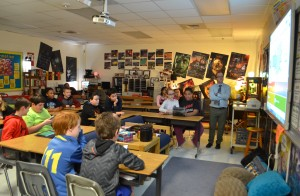 Seneca Ridge Middle School students play Kahoot!, a game-based education app, to brush up on class material ahead of a test. (Danielle Nadler/Loudoun Now)