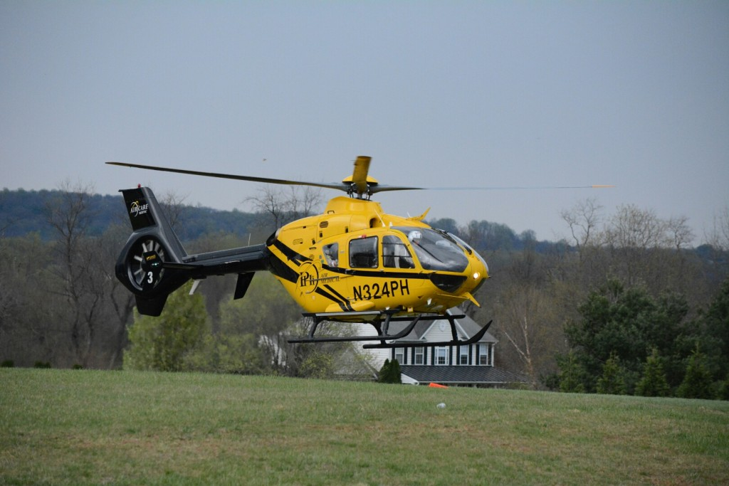 The victim of an apparent stabbing in Purcellville was flown to a hospital for treatment. (Renss Greene/Loudoun Now)