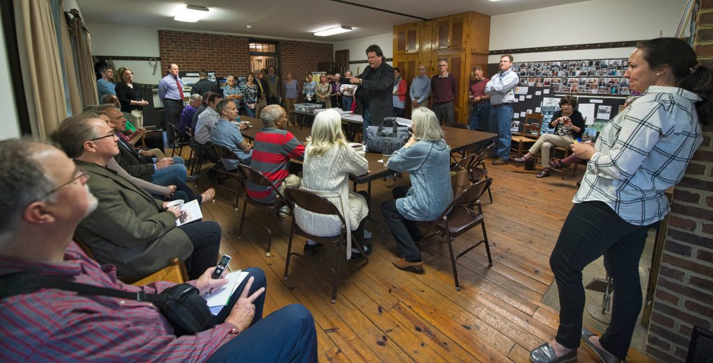 Neighbors and members of the Loudoun County Design Cabinet - architects, planners, landscapers, engineers all gathered at the Quaker Meetinghouse to talk about how to restore Grace Methodist Episcopal Church, on Brooks Lane in Lincoln. (Photo by Douglas Graham/Loudoun Now)