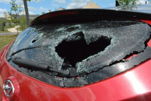 Hail damage to a car parked in the Salamander Resort parking lot.