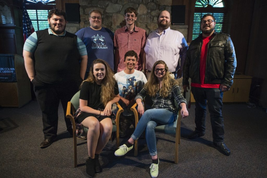 "Cast and crew gather for a dress rehearsal of ""Love, He Called It"" this week. The play is a psychological thriller written and directed by two of Loudoun County's own, Christian Jost and Sean Phillips (Douglas Graham/Loudoun Now)"